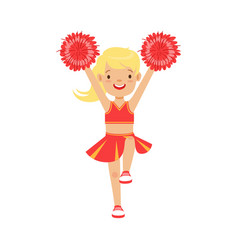 cute little blond cheerleader girl dancing with vector image