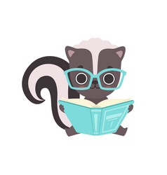 Cute little skunk in glasses reading book vector