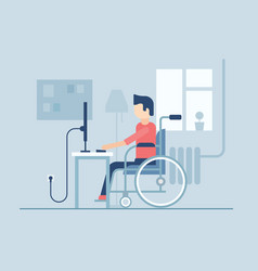 Disabled man working at home - flat design style vector