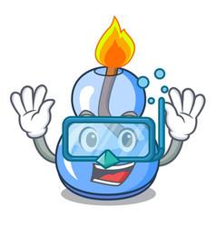 Diving alcohol burner character cartoon vector