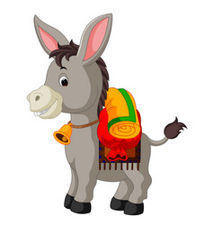 Donkey carries a large bag vector
