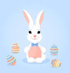 Easter bunny with ears in a bow and paschal eggs vector