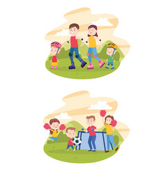 Family parents and childrens cartoons vector