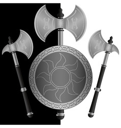 Fantasy shields and axes sixth variant vector