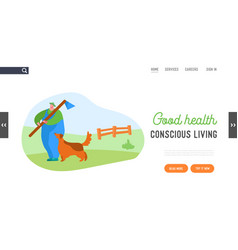 farmer walking outdoors landing page template vector image