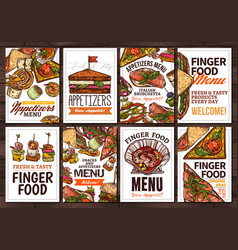finger food and appetizers hand drawn poster vector image