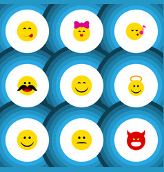 Flat icon face set of joy cheerful pouting and vector