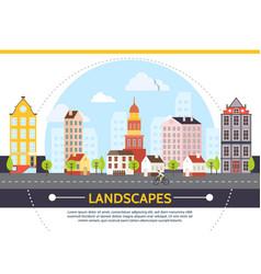 Flat summer cityscape template vector