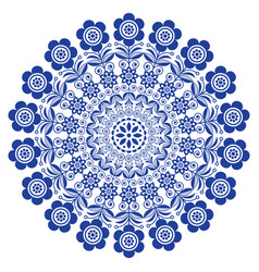 Folk art floral mandala scandinavian art vector