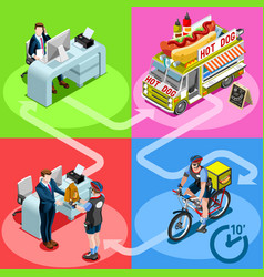food truck hot dog home delivery isometric people vector image