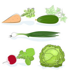 gardening vegetables isolated on white vector image