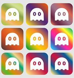 Ghost icon sign Nine buttons with bright gradients vector