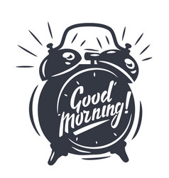 Good morning text with clock vector