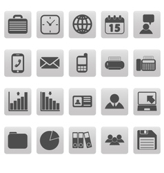 Gray business icons on gray squares vector image