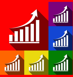 growing graph sign set of icons with flat vector image