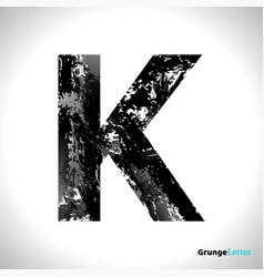 Grunge letter k black font sketch style symbol vector