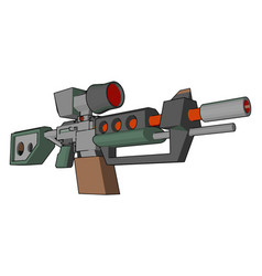 Gun loaded with bullet or color vector