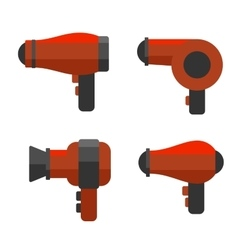 Hairdryer Icon Set on White Background vector