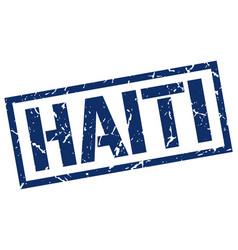 Haiti blue square stamp vector