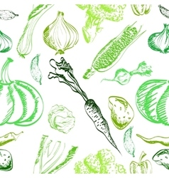Hand drawn vegetables set on a background vector