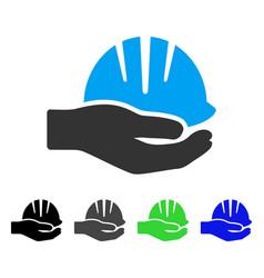 Hand with helmet flat icon vector