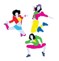 Happy color of Break dancer Silhouettes vector image