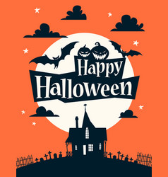 Happy halloween on background of the moon vector