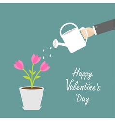 Happy Valentines Day Love card Hand watering can vector image