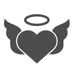 heart with pair of wings solid icon valentines vector image