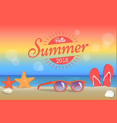 Hello summer 2018 poster red sunglasses on beach vector