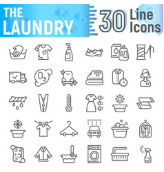Laundry line icon set clean symbols collection vector