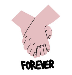 lovely couple holding hands promise vector image