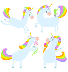 magic unicorns set mistycal horse with corn vector image
