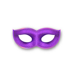 Mardi gras mask purple color with gold glittering vector