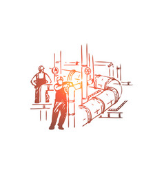 men working on pipeline safety check vector image