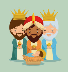 Merry christmas three magic and wise kings vector