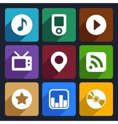 Multimedia flat icons set 1 vector image