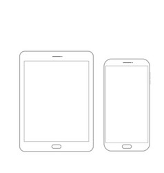 outline drawing tablet and smartphone elegant vector image