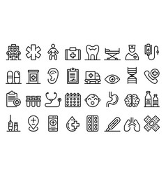 Pediatric clinic icons set outline style vector
