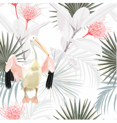 Pelican bird with palm leaves floral seamless vector