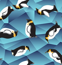 penguin pattern blue crystal ice background vector image