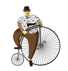 Penny farthing or high wheel bicycle and fat man vector
