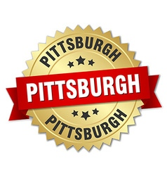 Pittsburgh round golden badge with red ribbon vector