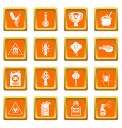 Poison danger toxic icons set orange square vector