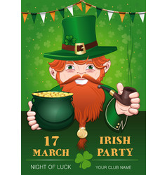 poster for st patricks day with leprechaun vector image