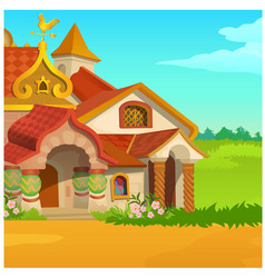Poster with a fabulous royal wooden house in a vector