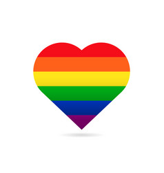 Rainbow flag lgbt symbol on heart vector