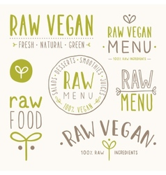 Raw vegan badges vector