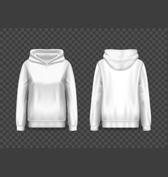 Realistic white women hoody woman pullover hoodie vector