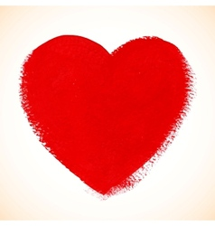 Red acrylic color textured painted heart vector